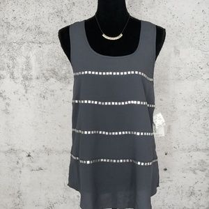 KENSIE Crepe Tank with Square Beads NWT